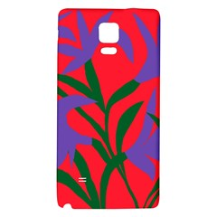 Purple Flower Red Background Galaxy Note 4 Back Case by Mariart