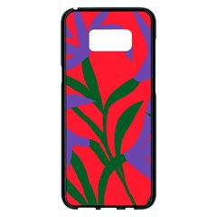 Purple Flower Red Background Samsung Galaxy S8 Plus Black Seamless Case by Mariart