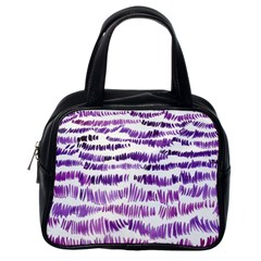 Original Feather Opaque Color Purple Classic Handbags (one Side) by Mariart