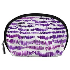 Original Feather Opaque Color Purple Accessory Pouches (large)  by Mariart