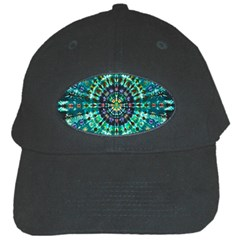 Peacock Throne Flower Green Tie Dye Kaleidoscope Opaque Color Black Cap by Mariart
