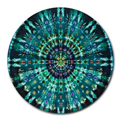 Peacock Throne Flower Green Tie Dye Kaleidoscope Opaque Color Round Mousepads by Mariart