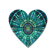 Peacock Throne Flower Green Tie Dye Kaleidoscope Opaque Color Heart Magnet by Mariart