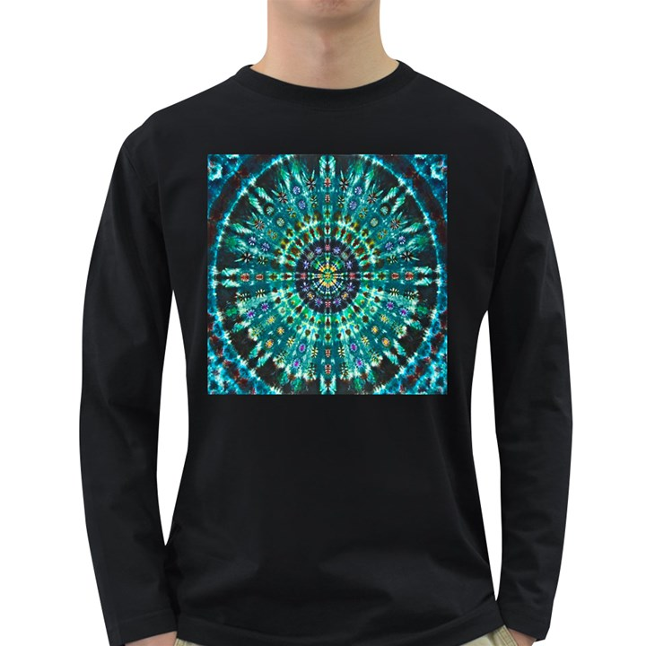Peacock Throne Flower Green Tie Dye Kaleidoscope Opaque Color Long Sleeve Dark T-Shirts