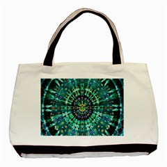 Peacock Throne Flower Green Tie Dye Kaleidoscope Opaque Color Basic Tote Bag by Mariart