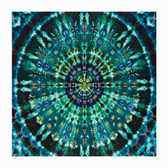 Peacock Throne Flower Green Tie Dye Kaleidoscope Opaque Color Medium Glasses Cloth
