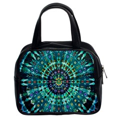 Peacock Throne Flower Green Tie Dye Kaleidoscope Opaque Color Classic Handbags (2 Sides) by Mariart