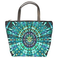Peacock Throne Flower Green Tie Dye Kaleidoscope Opaque Color Bucket Bags