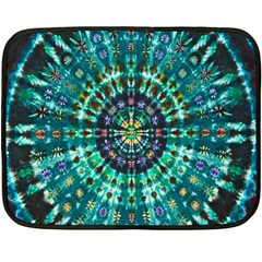 Peacock Throne Flower Green Tie Dye Kaleidoscope Opaque Color Double Sided Fleece Blanket (mini)  by Mariart