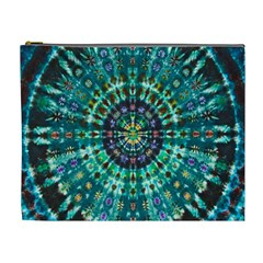 Peacock Throne Flower Green Tie Dye Kaleidoscope Opaque Color Cosmetic Bag (xl)