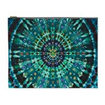 Peacock Throne Flower Green Tie Dye Kaleidoscope Opaque Color Cosmetic Bag (XL) Front