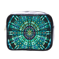 Peacock Throne Flower Green Tie Dye Kaleidoscope Opaque Color Mini Toiletries Bags by Mariart
