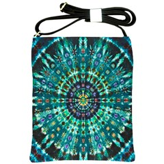 Peacock Throne Flower Green Tie Dye Kaleidoscope Opaque Color Shoulder Sling Bags by Mariart