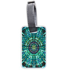 Peacock Throne Flower Green Tie Dye Kaleidoscope Opaque Color Luggage Tags (one Side)  by Mariart