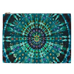 Peacock Throne Flower Green Tie Dye Kaleidoscope Opaque Color Cosmetic Bag (xxl)  by Mariart