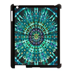Peacock Throne Flower Green Tie Dye Kaleidoscope Opaque Color Apple Ipad 3/4 Case (black) by Mariart