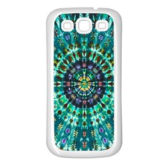 Peacock Throne Flower Green Tie Dye Kaleidoscope Opaque Color Samsung Galaxy S3 Back Case (white) by Mariart