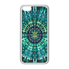 Peacock Throne Flower Green Tie Dye Kaleidoscope Opaque Color Apple Iphone 5c Seamless Case (white) by Mariart
