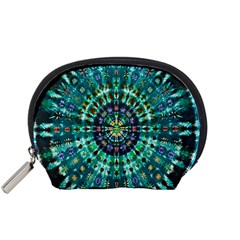 Peacock Throne Flower Green Tie Dye Kaleidoscope Opaque Color Accessory Pouches (small)  by Mariart