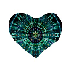 Peacock Throne Flower Green Tie Dye Kaleidoscope Opaque Color Standard 16  Premium Flano Heart Shape Cushions by Mariart