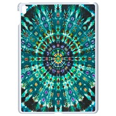 Peacock Throne Flower Green Tie Dye Kaleidoscope Opaque Color Apple Ipad Pro 9 7   White Seamless Case