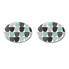 Sugar Blue Fabric Polka Dots Circle Cufflinks (oval) by Mariart