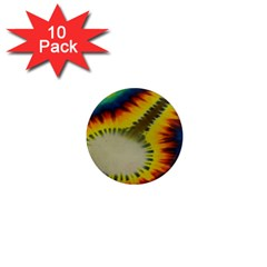 Red Blue Yellow Green Medium Rainbow Tie Dye Kaleidoscope Opaque Color 1  Mini Magnet (10 Pack)  by Mariart
