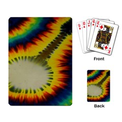 Red Blue Yellow Green Medium Rainbow Tie Dye Kaleidoscope Opaque Color Playing Card by Mariart