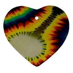 Red Blue Yellow Green Medium Rainbow Tie Dye Kaleidoscope Opaque Color Heart Ornament (two Sides) by Mariart