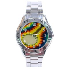 Red Blue Yellow Green Medium Rainbow Tie Dye Kaleidoscope Opaque Color Stainless Steel Analogue Watch