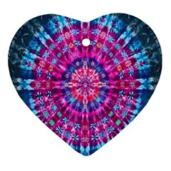 Red Blue Tie Dye Kaleidoscope Opaque Color Circle Ornament (heart) by Mariart