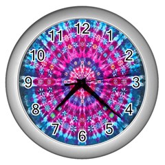 Red Blue Tie Dye Kaleidoscope Opaque Color Circle Wall Clocks (silver)  by Mariart