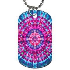 Red Blue Tie Dye Kaleidoscope Opaque Color Circle Dog Tag (one Side) by Mariart