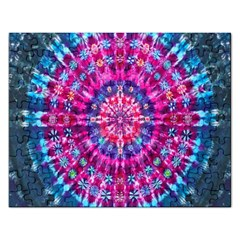 Red Blue Tie Dye Kaleidoscope Opaque Color Circle Rectangular Jigsaw Puzzl by Mariart
