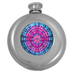 Red Blue Tie Dye Kaleidoscope Opaque Color Circle Round Hip Flask (5 Oz) by Mariart