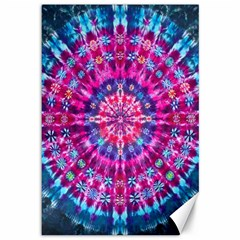 Red Blue Tie Dye Kaleidoscope Opaque Color Circle Canvas 12  X 18   by Mariart
