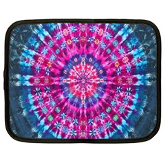 Red Blue Tie Dye Kaleidoscope Opaque Color Circle Netbook Case (xxl)