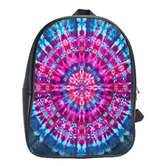Red Blue Tie Dye Kaleidoscope Opaque Color Circle School Bags(large)