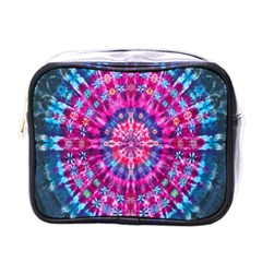 Red Blue Tie Dye Kaleidoscope Opaque Color Circle Mini Toiletries Bags by Mariart