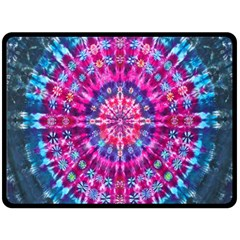 Red Blue Tie Dye Kaleidoscope Opaque Color Circle Fleece Blanket (large)  by Mariart