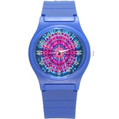 Red Blue Tie Dye Kaleidoscope Opaque Color Circle Round Plastic Sport Watch (s)