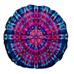Red Blue Tie Dye Kaleidoscope Opaque Color Circle Large 18  Premium Round Cushions by Mariart