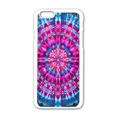 Red Blue Tie Dye Kaleidoscope Opaque Color Circle Apple Iphone 6/6s White Enamel Case