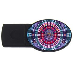 Red Purple Tie Dye Kaleidoscope Opaque Color Usb Flash Drive Oval (4 Gb)