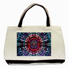 Red Purple Tie Dye Kaleidoscope Opaque Color Basic Tote Bag
