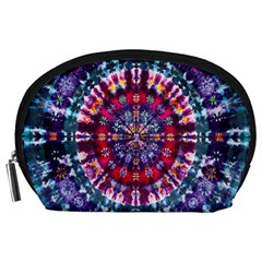 Red Purple Tie Dye Kaleidoscope Opaque Color Accessory Pouches (large)  by Mariart