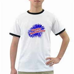 Happy Bastille Day Graphic Logo Ringer T-shirts by dflcprints