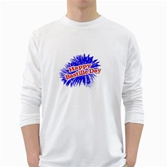 Happy Bastille Day Graphic Logo White Long Sleeve T-shirts by dflcprints