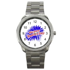 Happy Bastille Day Graphic Logo Sport Metal Watch by dflcprints