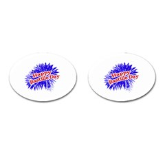 Happy Bastille Day Graphic Logo Cufflinks (oval) by dflcprints